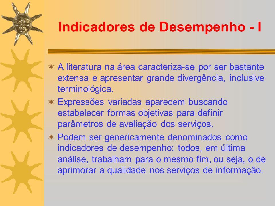 Indicadores de Desempenho - I A literatura na área caracteriza-se por ser bastante extensa e apresentar grande divergência, inclusive terminológica. E