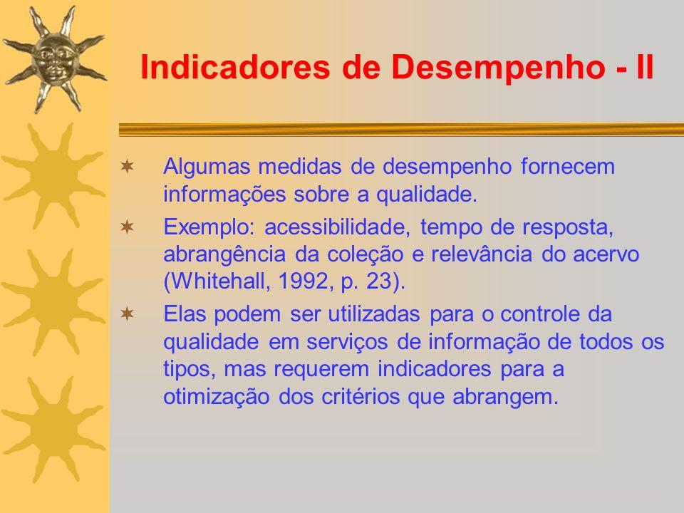 Indicadores de Desempenho - II Algumas medidas de desempenho fornecem informações sobre a qualidade. Exemplo: acessibilidade, tempo de resposta, abran