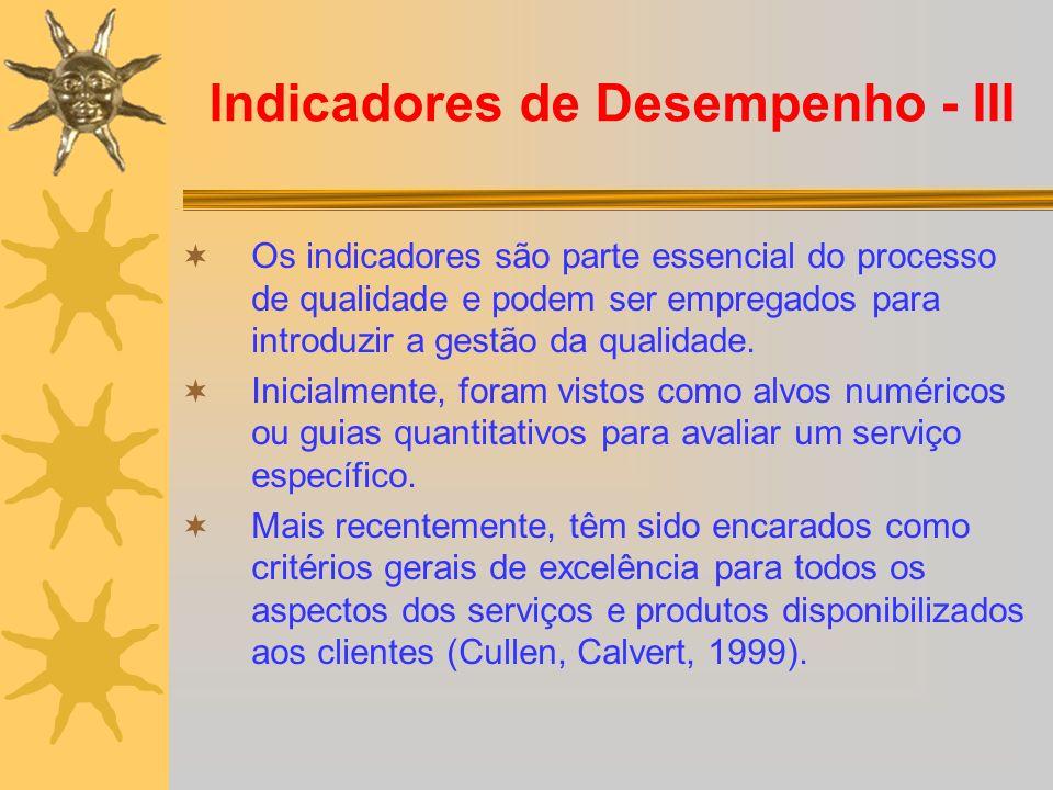 Indicadores de Desempenho - III Os indicadores são parte essencial do processo de qualidade e podem ser empregados para introduzir a gestão da qualida