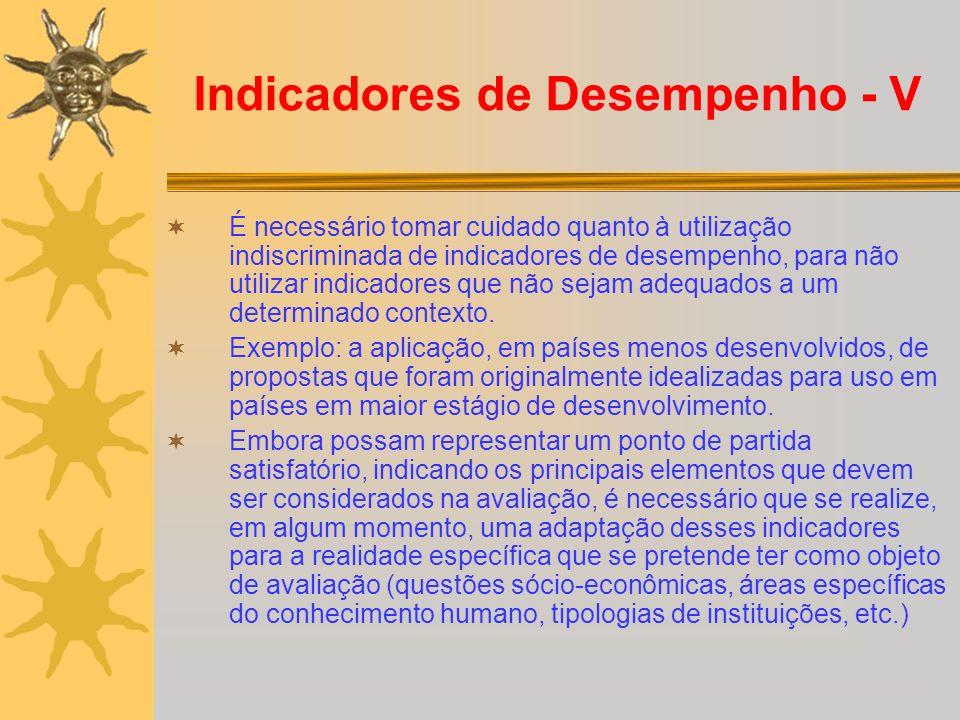 Indicadores de Desempenho - V É necessário tomar cuidado quanto à utilização indiscriminada de indicadores de desempenho, para não utilizar indicadore