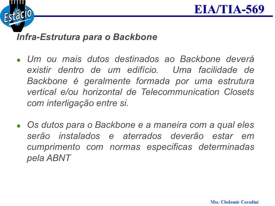 Msc. Clodomir Coradini EIA/TIA-569 Infra-Estrutura para o Backbone Um ou mais dutos destinados ao Backbone deverá existir dentro de um edifício. Uma f