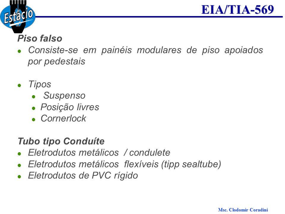 Msc. Clodomir Coradini EIA/TIA-569 Piso falso Consiste-se em painéis modulares de piso apoiados por pedestais Tipos Suspenso Posição livres Cornerlock