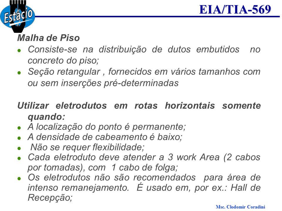 Msc. Clodomir Coradini EIA/TIA-569 Malha de Piso Consiste-se na distribuição de dutos embutidos no concreto do piso; Seção retangular, fornecidos em v