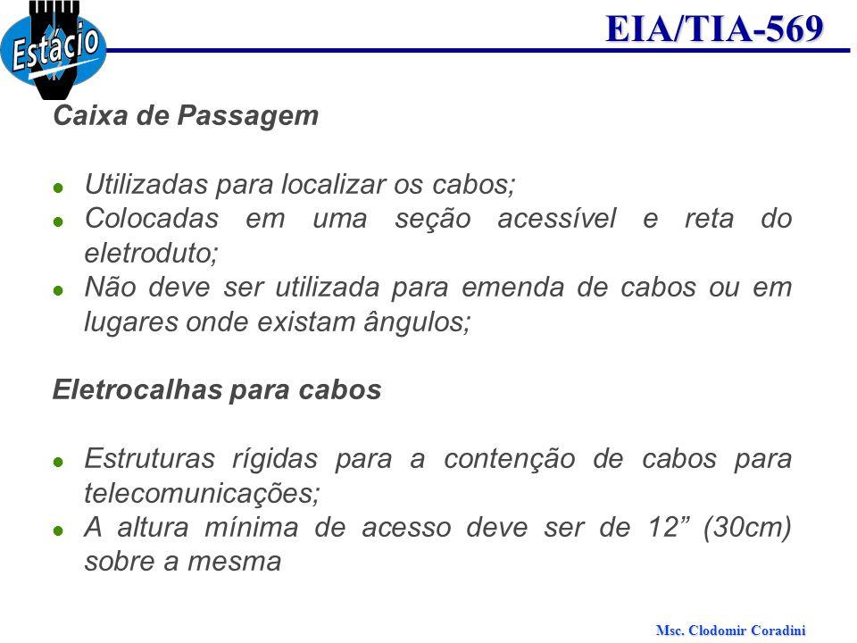 Msc. Clodomir Coradini EIA/TIA-569 Caixa de Passagem Utilizadas para localizar os cabos; Colocadas em uma seção acessível e reta do eletroduto; Não de