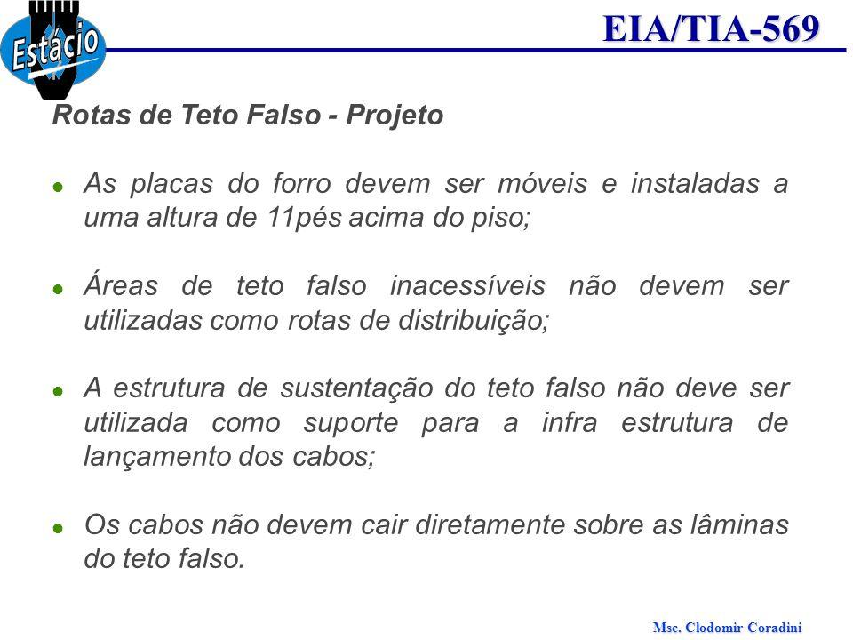 Msc. Clodomir Coradini EIA/TIA-569 Rotas de Teto Falso - Projeto As placas do forro devem ser móveis e instaladas a uma altura de 11pés acima do piso;