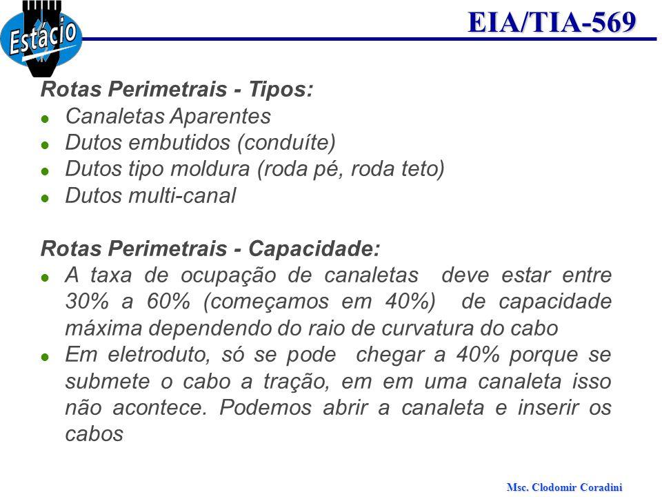 Msc. Clodomir Coradini EIA/TIA-569 Rotas Perimetrais - Tipos: Canaletas Aparentes Dutos embutidos (conduíte) Dutos tipo moldura (roda pé, roda teto) D