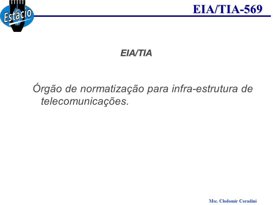 Msc. Clodomir Coradini EIA/TIA-569EIA/TIA Órgão de normatização para infra-estrutura de telecomunicações.