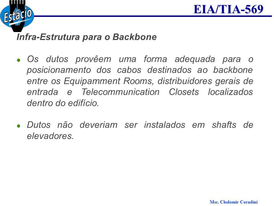 EIA/TIA-569 Infra-Estrutura para o Backbone Os dutos provêem uma forma adequada para o posicionamento dos cabos destinados ao backbone entre os Equipa