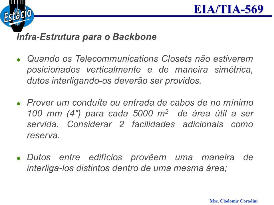 Msc. Clodomir Coradini EIA/TIA-569 Infra-Estrutura para o Backbone Quando os Telecommunications Closets não estiverem posicionados verticalmente e de