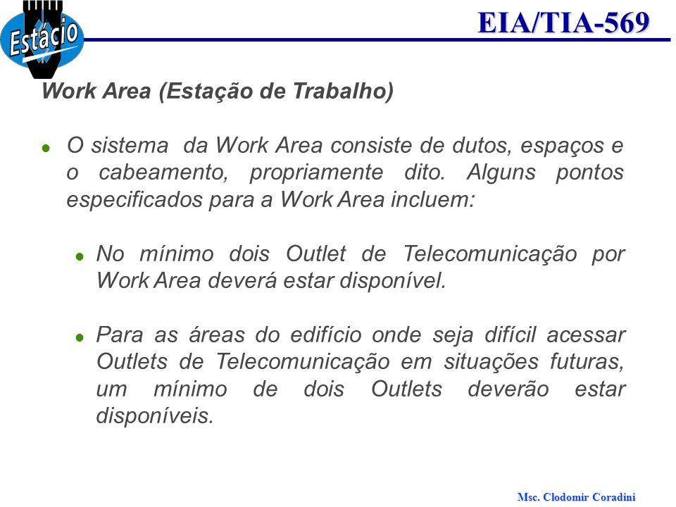 Msc. Clodomir Coradini EIA/TIA-569 Work Area (Estação de Trabalho) O sistema da Work Area consiste de dutos, espaços e o cabeamento, propriamente dito