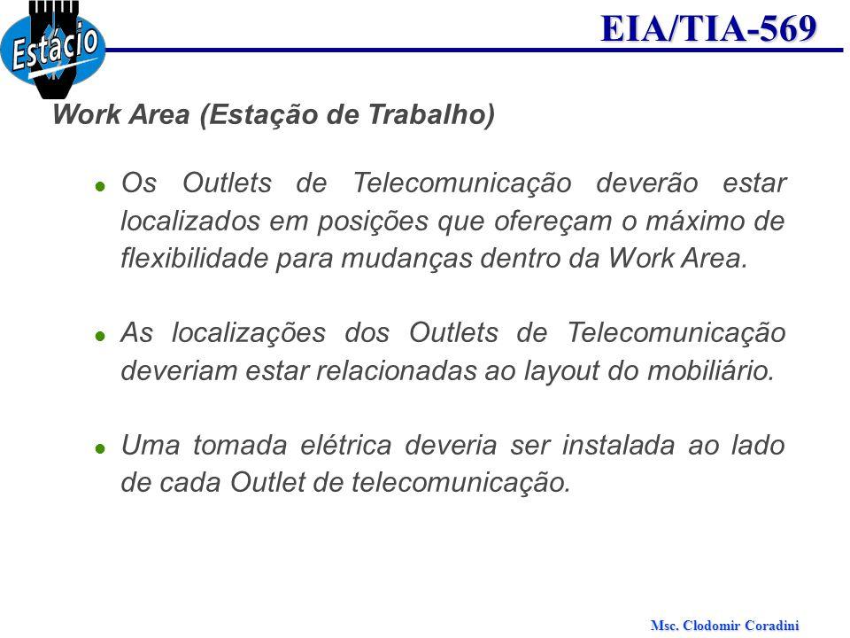 Msc. Clodomir Coradini EIA/TIA-569 Work Area (Estação de Trabalho) Os Outlets de Telecomunicação deverão estar localizados em posições que ofereçam o