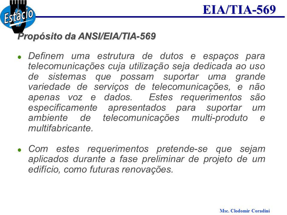 Msc. Clodomir Coradini EIA/TIA-569 Propósito da ANSI/EIA/TIA-569 Definem uma estrutura de dutos e espaços para telecomunicações cuja utilização seja d