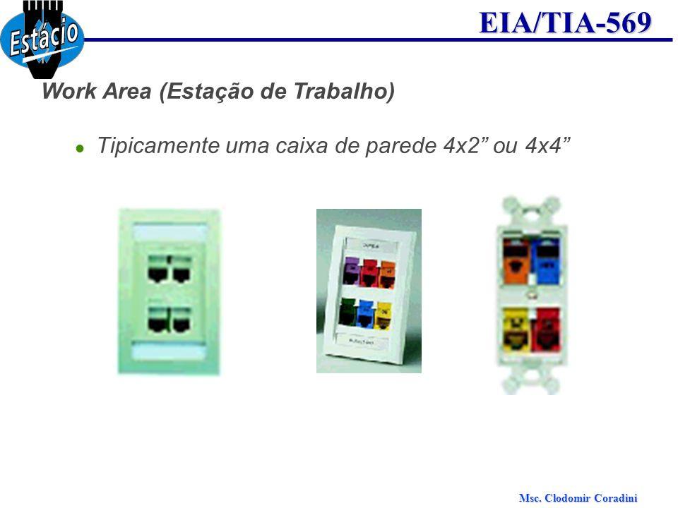 Msc. Clodomir Coradini EIA/TIA-569 Work Area (Estação de Trabalho) Tipicamente uma caixa de parede 4x2 ou 4x4