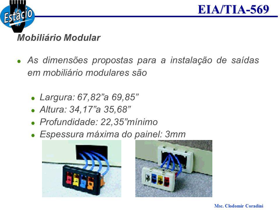 Msc. Clodomir Coradini EIA/TIA-569 Mobiliário Modular As dimensões propostas para a instalação de saídas em mobiliário modulares são Largura: 67,82a 6