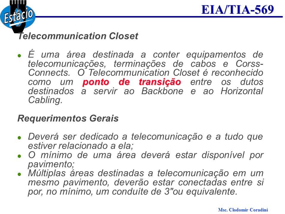 Msc. Clodomir Coradini EIA/TIA-569 Telecommunication Closet ponto de transição É uma área destinada a conter equipamentos de telecomunicações, termina