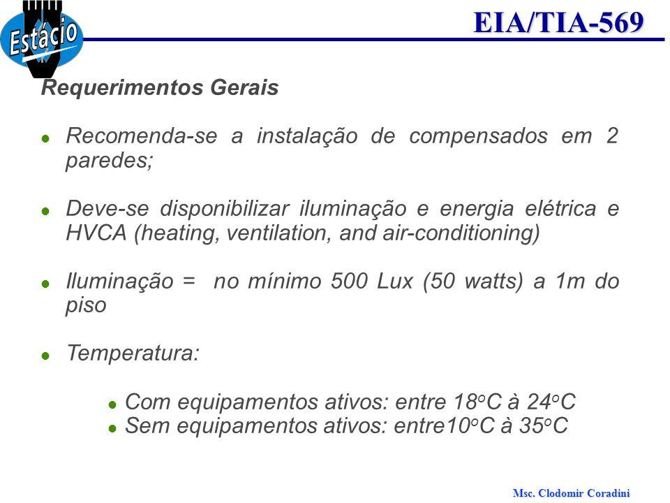 Msc. Clodomir Coradini EIA/TIA-569 Requerimentos Gerais Recomenda-se a instalação de compensados em 2 paredes; Deve-se disponibilizar iluminação e ene