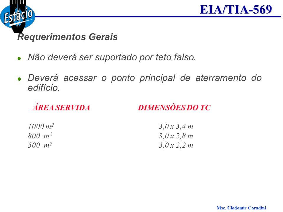Msc. Clodomir Coradini EIA/TIA-569 Requerimentos Gerais Não deverá ser suportado por teto falso. Deverá acessar o ponto principal de aterramento do ed