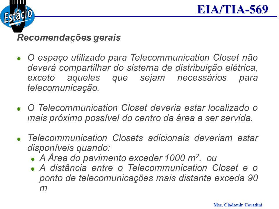 Msc. Clodomir Coradini EIA/TIA-569 Recomendações gerais O espaço utilizado para Telecommunication Closet não deverá compartilhar do sistema de distrib