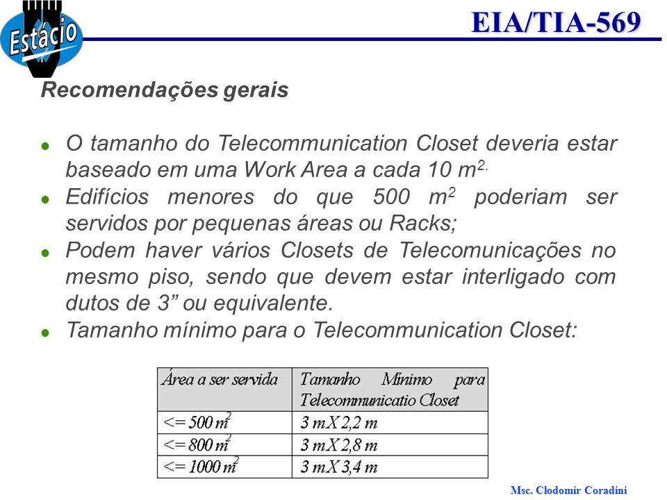 Msc. Clodomir Coradini EIA/TIA-569 Recomendações gerais O tamanho do Telecommunication Closet deveria estar baseado em uma Work Area a cada 10 m 2. Ed