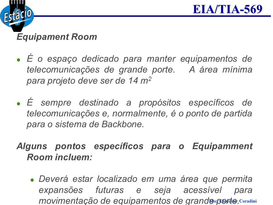 Msc. Clodomir Coradini EIA/TIA-569 Equipament Room É o espaço dedicado para manter equipamentos de telecomunicações de grande porte. A área mínima par