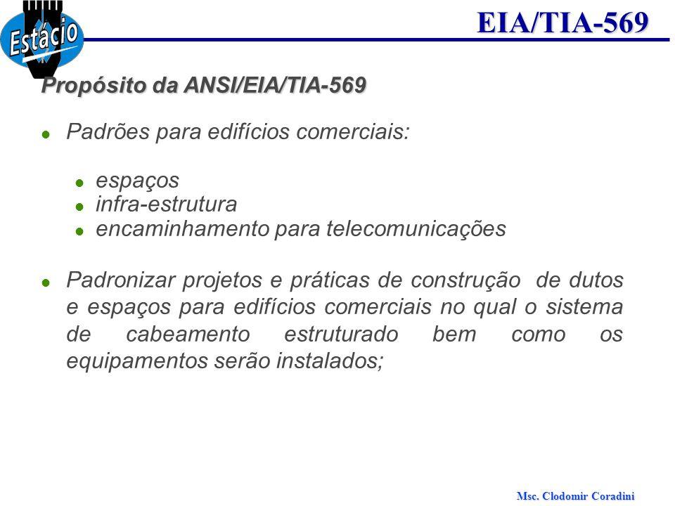 Msc. Clodomir Coradini EIA/TIA-569 Propósito da ANSI/EIA/TIA-569 Padrões para edifícios comerciais: espaços infra-estrutura encaminhamento para teleco