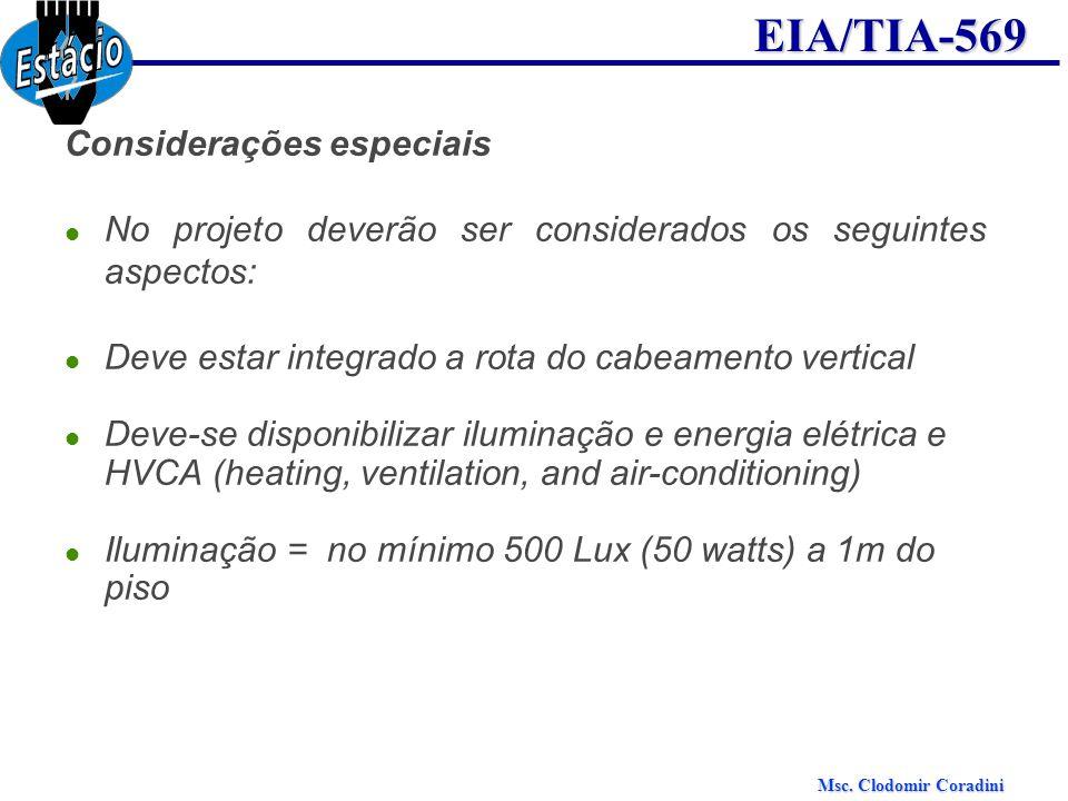 Msc. Clodomir Coradini EIA/TIA-569 Considerações especiais No projeto deverão ser considerados os seguintes aspectos: Deve estar integrado a rota do c