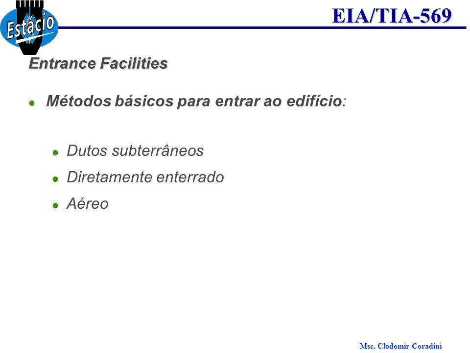 Msc. Clodomir Coradini EIA/TIA-569 Entrance Facilities Métodos básicos para entrar ao edifício: Dutos subterrâneos Diretamente enterrado Aéreo
