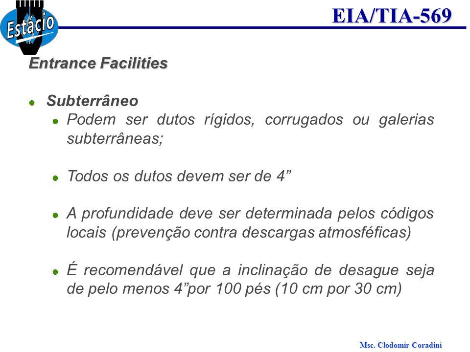 Msc. Clodomir Coradini EIA/TIA-569 Entrance Facilities Subterrâneo Podem ser dutos rígidos, corrugados ou galerias subterrâneas; Todos os dutos devem
