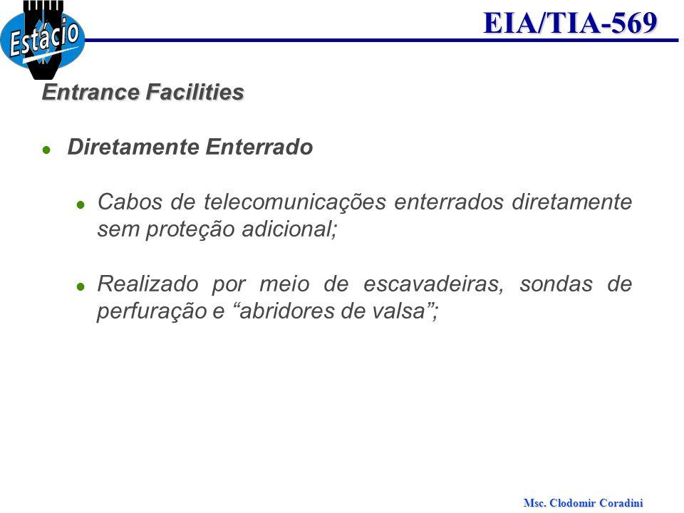 Msc. Clodomir Coradini EIA/TIA-569 Entrance Facilities Diretamente Enterrado Cabos de telecomunicações enterrados diretamente sem proteção adicional;