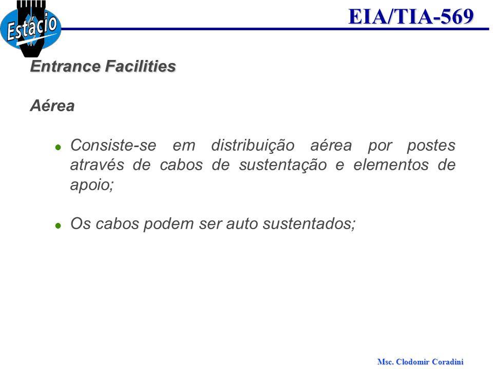 Msc. Clodomir Coradini EIA/TIA-569 Entrance Facilities Aérea Consiste-se em distribuição aérea por postes através de cabos de sustentação e elementos