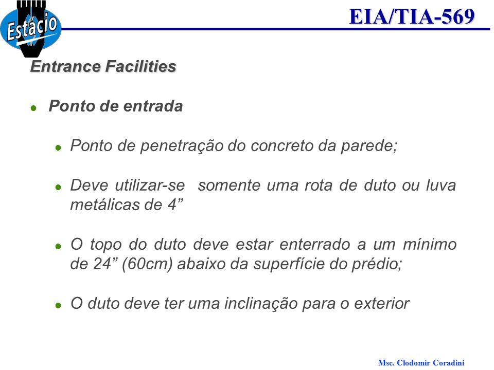 Msc. Clodomir Coradini EIA/TIA-569 Entrance Facilities Ponto de entrada Ponto de penetração do concreto da parede; Deve utilizar-se somente uma rota d