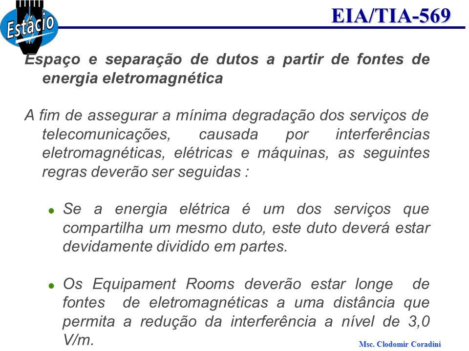 Msc. Clodomir Coradini EIA/TIA-569 Espaço e separação de dutos a partir de fontes de energia eletromagnética A fim de assegurar a mínima degradação do