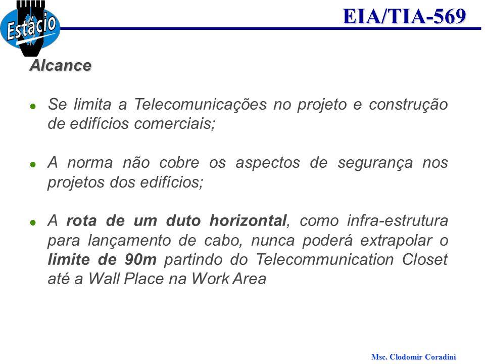 Msc. Clodomir Coradini EIA/TIA-569Alcance Se limita a Telecomunicações no projeto e construção de edifícios comerciais; A norma não cobre os aspectos