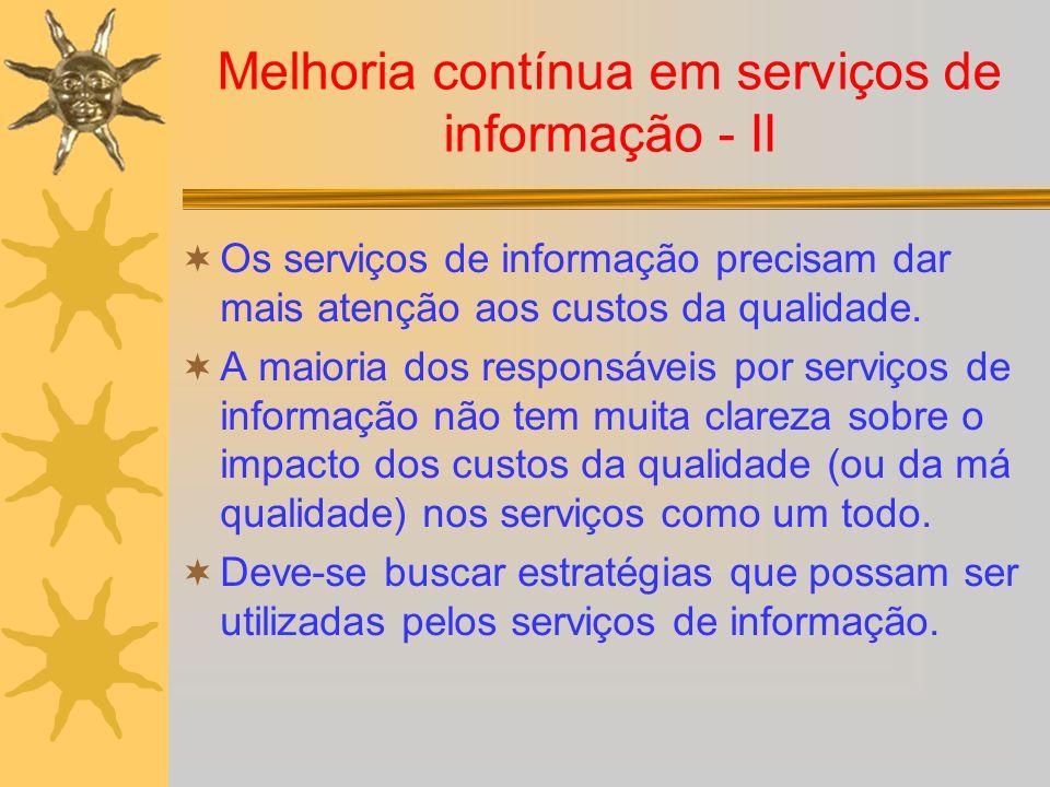 Melhoria contínua em serviços de informação - II Os serviços de informação precisam dar mais atenção aos custos da qualidade. A maioria dos responsáve