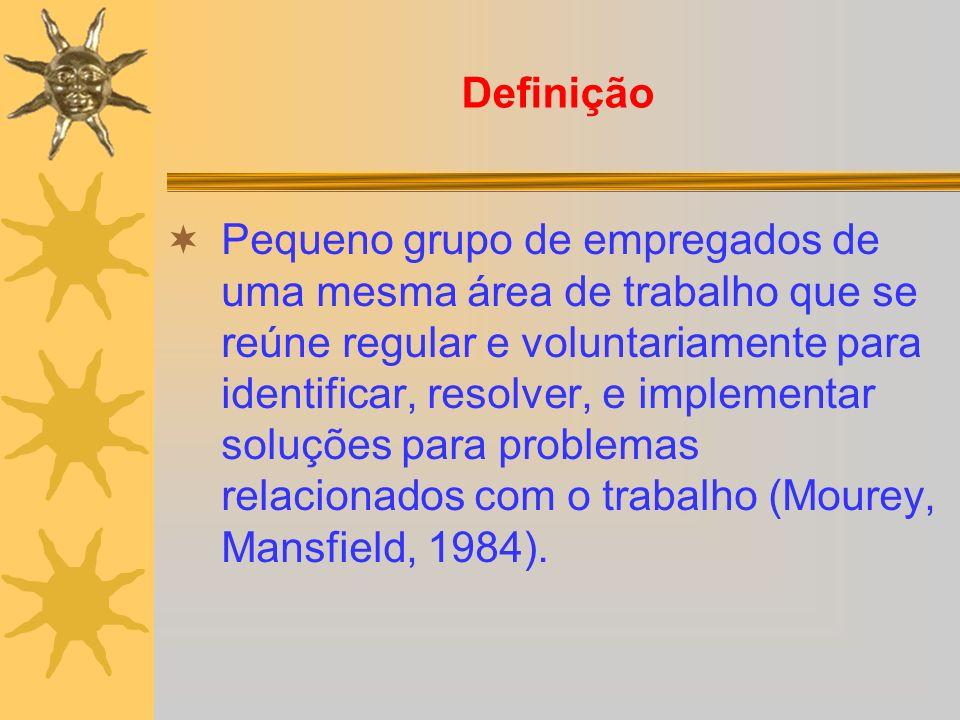 Definição Pequeno grupo de empregados de uma mesma área de trabalho que se reúne regular e voluntariamente para identificar, resolver, e implementar s