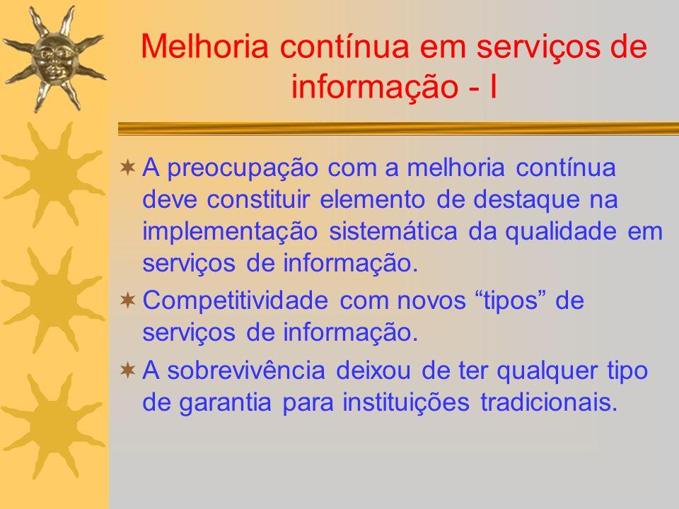 Melhoria contínua em serviços de informação - I A preocupação com a melhoria contínua deve constituir elemento de destaque na implementação sistemátic