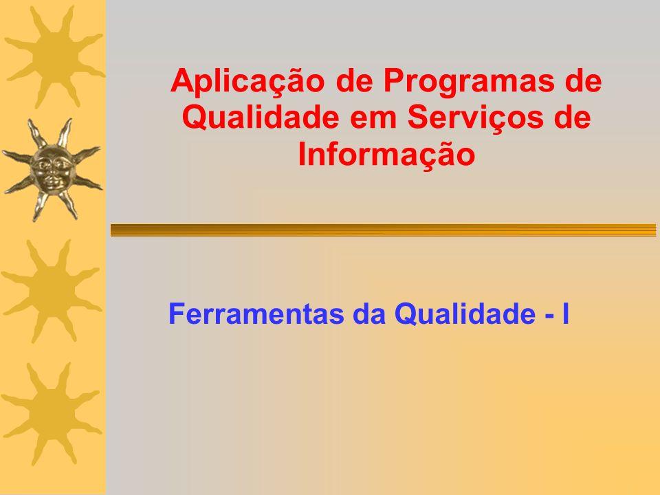 Aplicação de Programas de Qualidade em Serviços de Informação Ferramentas da Qualidade - I