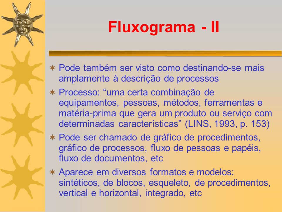 Fluxograma - II Pode também ser visto como destinando-se mais amplamente à descrição de processos Processo: uma certa combinação de equipamentos, pessoas, métodos, ferramentas e matéria-prima que gera um produto ou serviço com determinadas características (LINS, 1993, p.