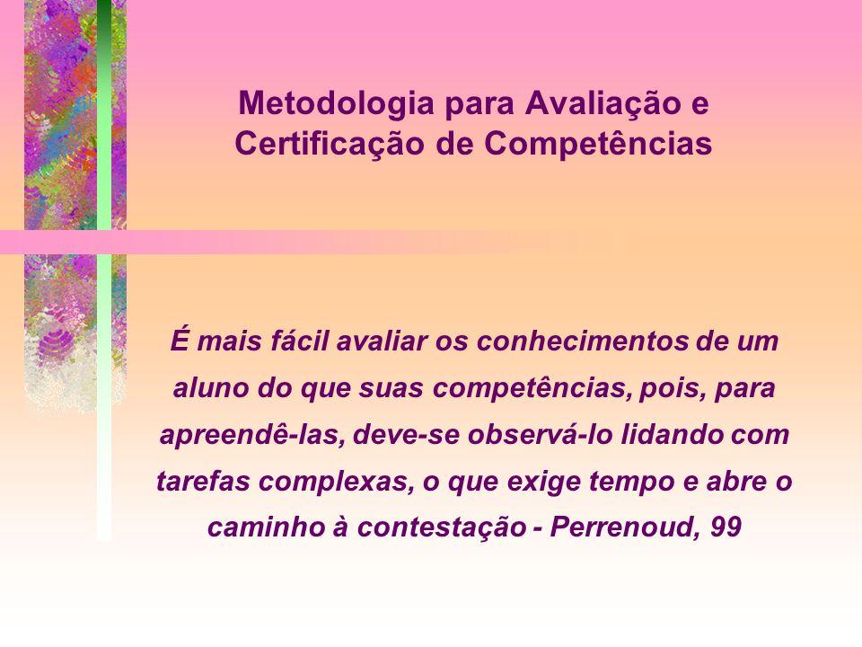 Metodologia para Avaliação e Certificação de Competências É mais fácil avaliar os conhecimentos de um aluno do que suas competências, pois, para apree