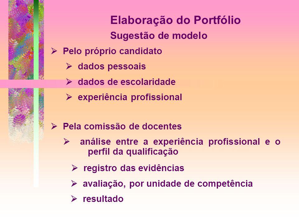 Elaboração do Portfólio Sugestão de modelo Pelo próprio candidato dados pessoais dados de escolaridade experiência profissional Pela comissão de docen
