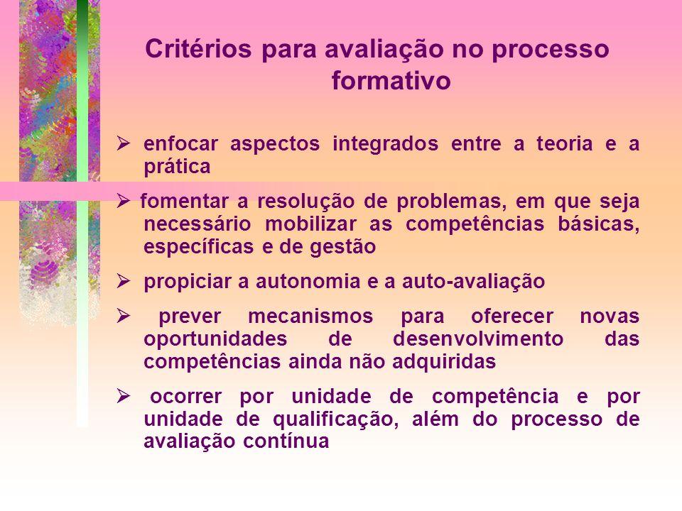 Critérios para avaliação no processo formativo enfocar aspectos integrados entre a teoria e a prática fomentar a resolução de problemas, em que seja n