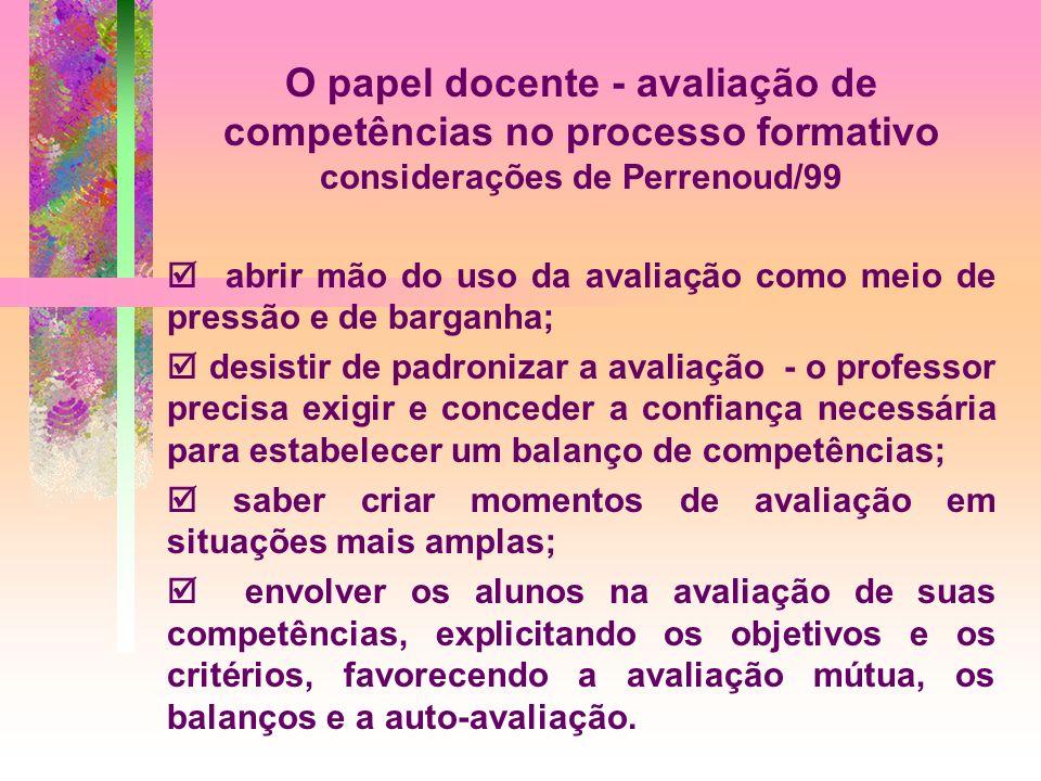 O papel docente - avaliação de competências no processo formativo considerações de Perrenoud/99 abrir mão do uso da avaliação como meio de pressão e d