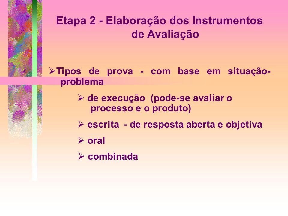 Etapa 2 - Elaboração dos Instrumentos de Avaliação Tipos de prova - com base em situação- problema de execução (pode-se avaliar o processo e o produto) escrita - de resposta aberta e objetiva oral combinada