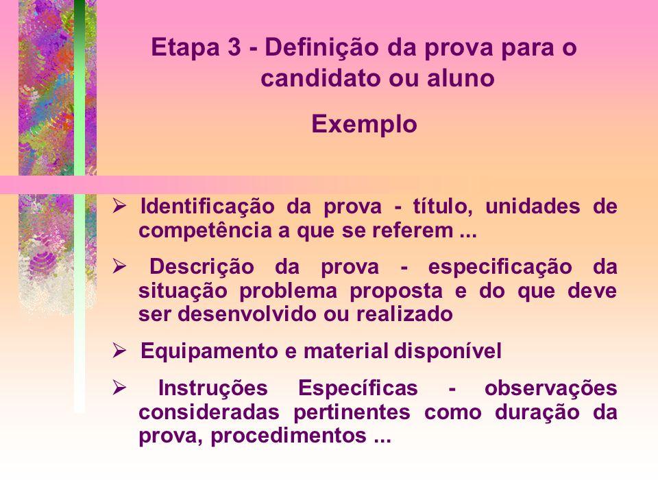 Etapa 3 - Definição da prova para o candidato ou aluno Exemplo Identificação da prova - título, unidades de competência a que se referem... Descrição