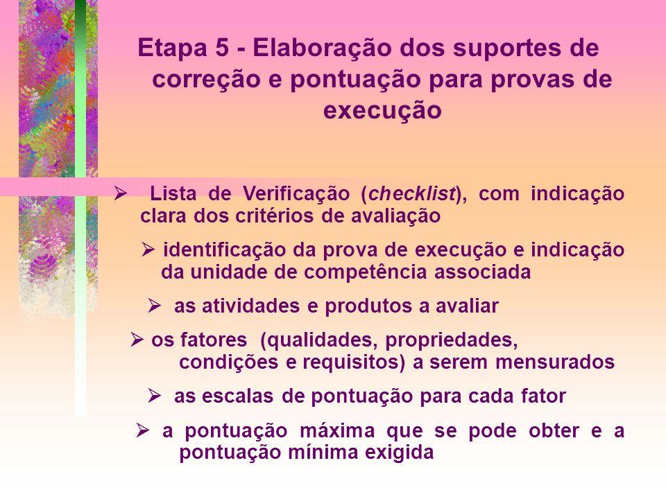 Etapa 5 - Elaboração dos suportes de correção e pontuação para provas de execução Lista de Verificação (checklist), com indicação clara dos critérios