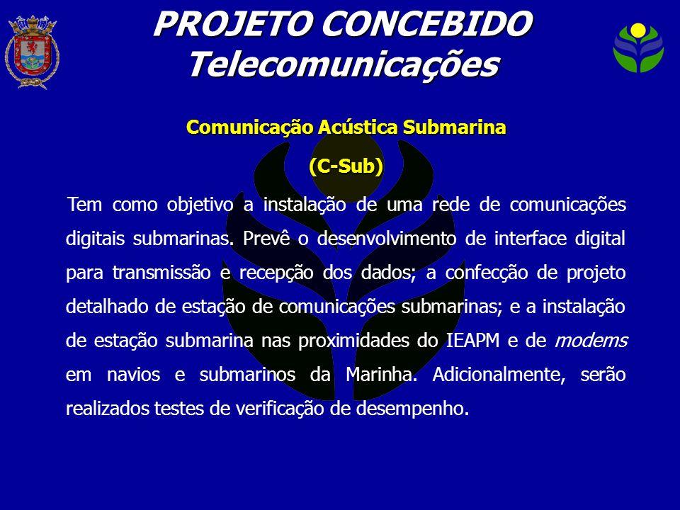 PROJETO CONCEBIDO Telecomunicações Comunicação Acústica Submarina (C-Sub) Tem como objetivo a instalação de uma rede de comunicações digitais submarin
