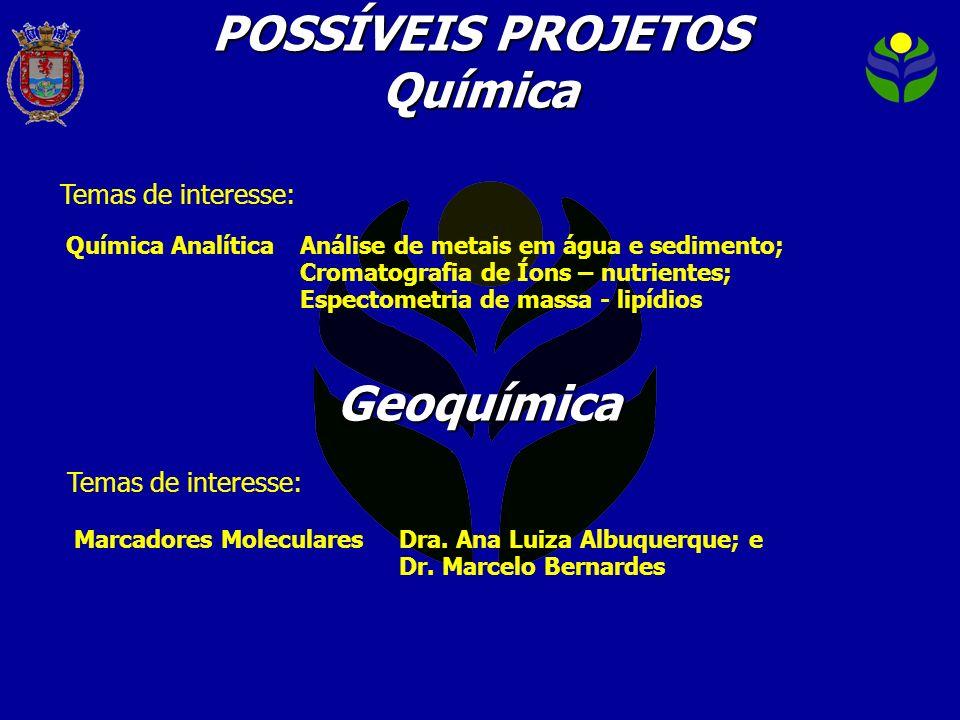 Temas de interesse: POSSÍVEIS PROJETOS Química Marcadores MolecularesDra. Ana Luiza Albuquerque; e Dr. Marcelo Bernardes Geoquímica Temas de interesse