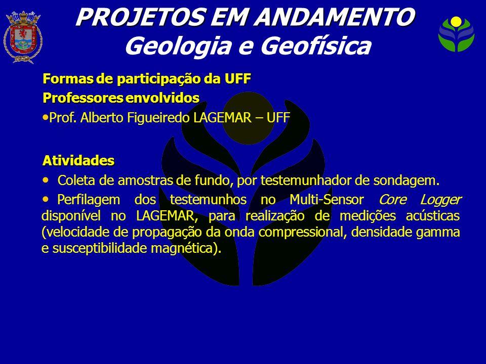 Formas de participação da UFF Professores envolvidos Prof. Alberto Figueiredo LAGEMAR – UFFAtividades Coleta de amostras de fundo, por testemunhador d