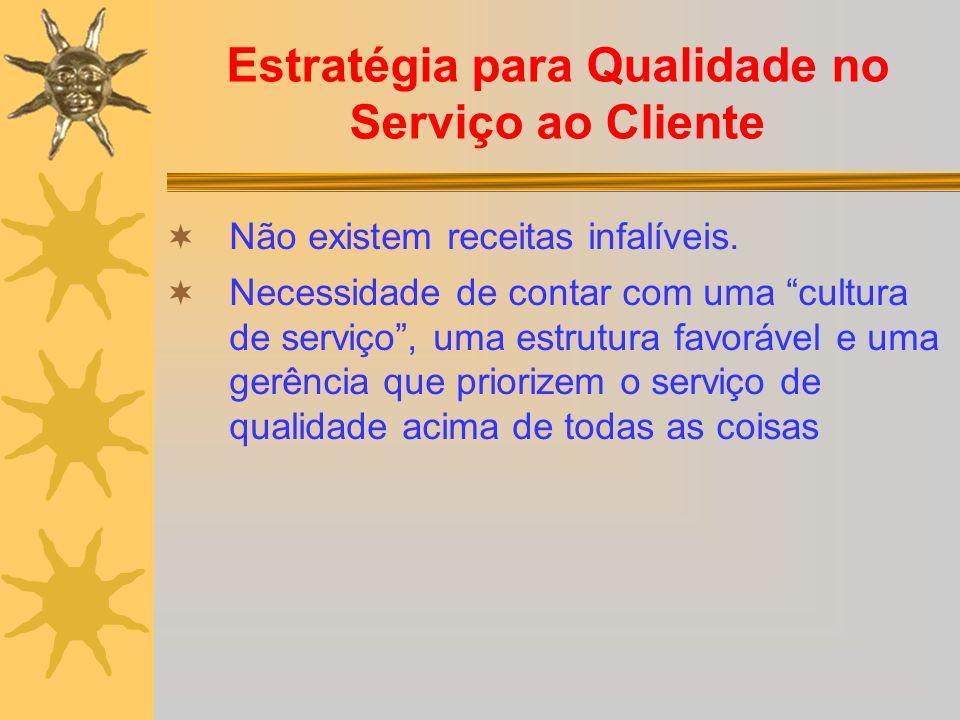 Estratégia para Qualidade no Serviço ao Cliente Não existem receitas infalíveis. Necessidade de contar com uma cultura de serviço, uma estrutura favor