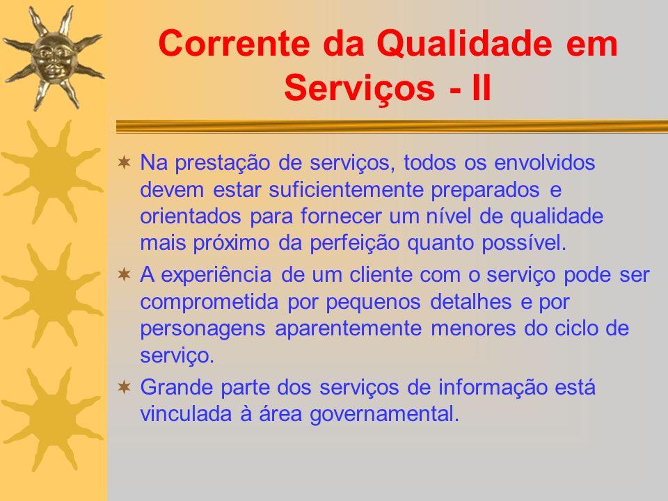Corrente da Qualidade em Serviços - II Na prestação de serviços, todos os envolvidos devem estar suficientemente preparados e orientados para fornecer